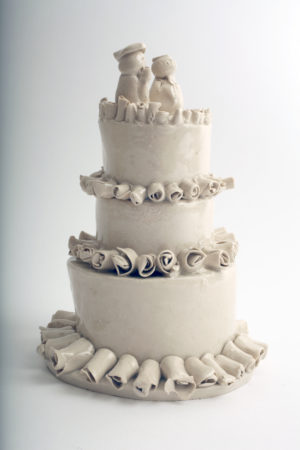 'Kylie and Jason's Wedding Cake', Porcelain, by Horace Lindezey
