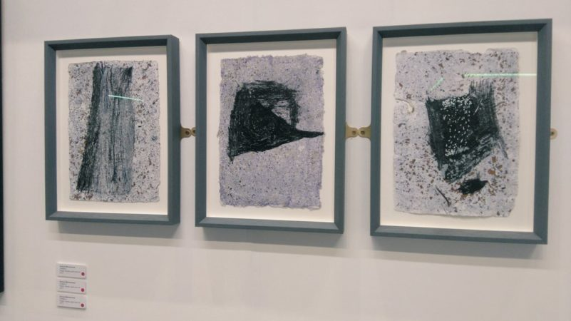 Exhibition view Manchester Contemporary: Ahmed Mohammed, 'Untitled', triptych, mixed media and ink, 2017,