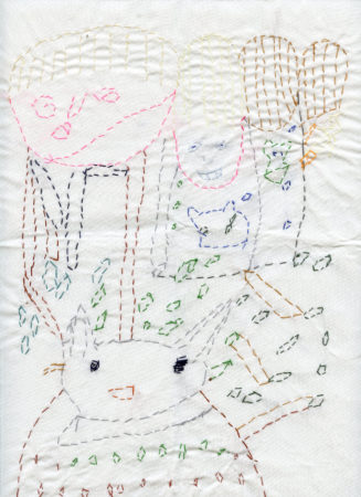 Maureen Callahan, 'ABBA and a Cat', mixed threads embroidery piece, 2018