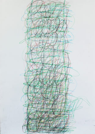Tower (Green, black, blue,red) By Michael Beard, wax sticks on cartridge paper, A0, 2018