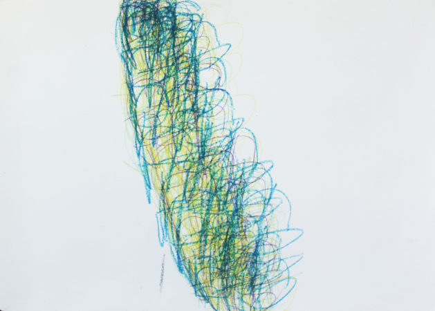 PARIS (Green, blue, purple, yellow, 12) by Michael Beard, wax sticks on cartridge paper, A0, 2018.