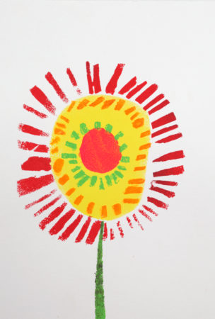 Robert's beautiful series of flower prints have been used for Venture Arts' new range of artists cards (Image: 'By Her Flower', stencil print on paper, 2019)