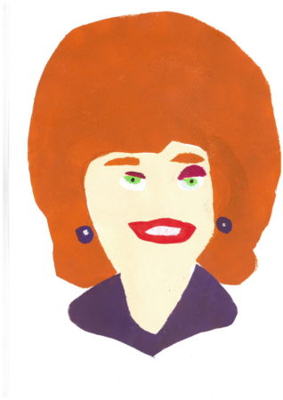 Amy's quirky print of Corrie's Rita is currently on show at Project Ability's Christmas show 'PRINT' until 21 Dec. (Image: 'RIta Fairclough'. stencil print, 2019)