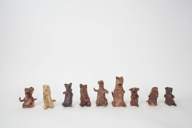 Dominic Bennett 'Army of Weasels', 2018, ceramics various sizes