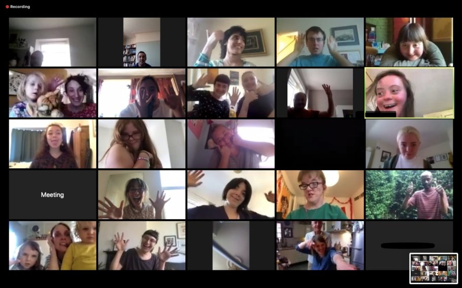 Screenshot from zoom from a sing-along session