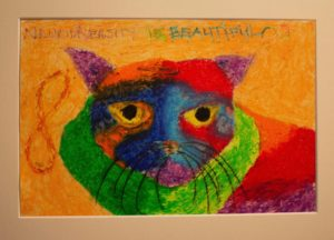 Colourful pastel drawing of a cats face