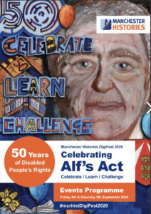 Front cover of the brochure with artwork reading 'Celebrate, Learn, Challenge' and portrait of Alf Morris