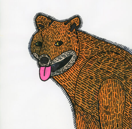 Andrew Johnstone, 'Fox', ink and Posca Pen on paper, 2020