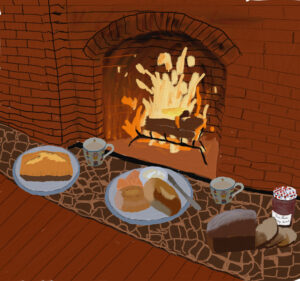 Fireplace with baked good in front