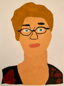 A print by artist Amy Ellison of Deirdre Barlow from Coronation Street - it is a head and shoulders portrait and she has short hair and wears glasses.