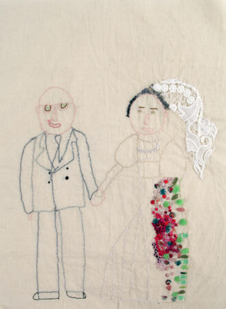 Horace Lindezey, 'Bet and Alec', hand embroidery, 2018