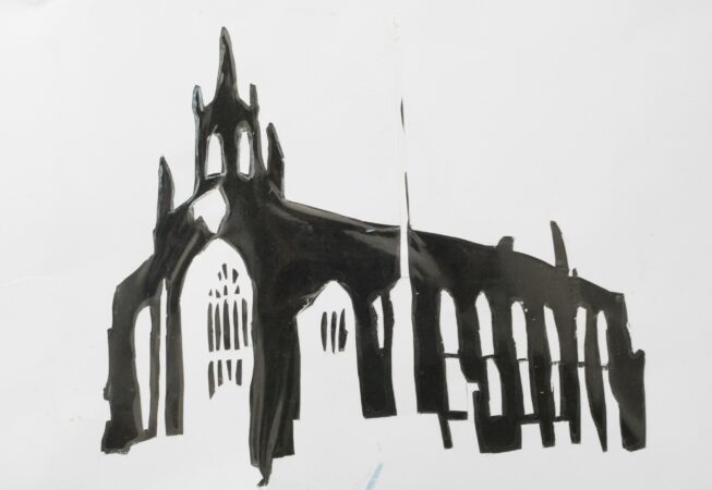 Horace Lindezey, 'The Churches of Len Fox' (from a series), paper-cut photograph, 2020