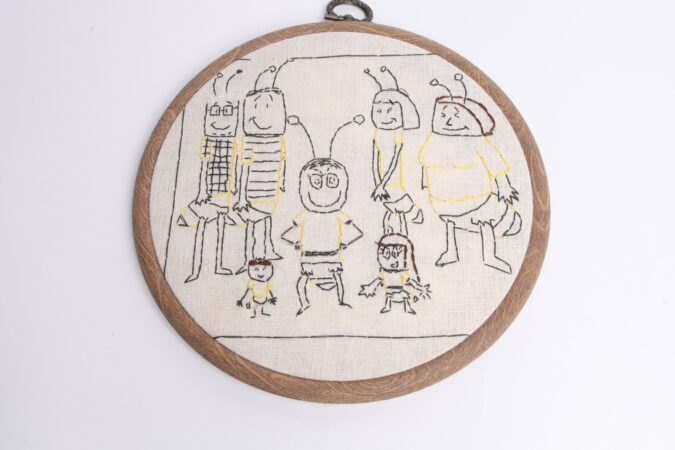 Justin Lees, 'Bee Family', stitched drawing on fabric, 2015