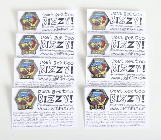 'Bizzy Bee' pin badges, designed by Justin P Lees