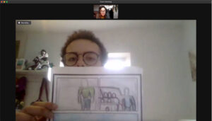 A zoom screenshot showing artist Josh Brown holding up is work to show Anne-Marie
