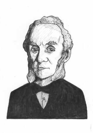 George Parker-Conway, 'William Gaskell', ink on paper, 2021