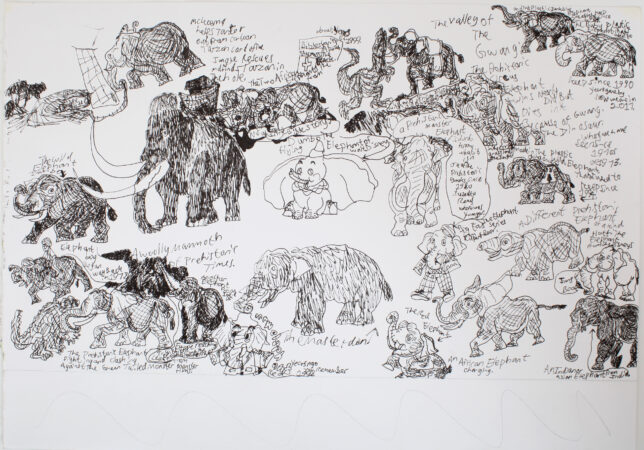 Leslie Thompson, 'All the Different Elephants', ink on paper, 2018