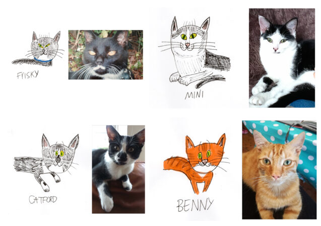 Justin Lees, 'My Cats', ink on paper with photographs, 2020