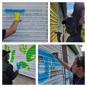 A selection of images of Justin and Leslie creating their murals